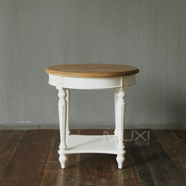 Punto francés país estilo sofá de madera maciza pequeño mesa redonda ...