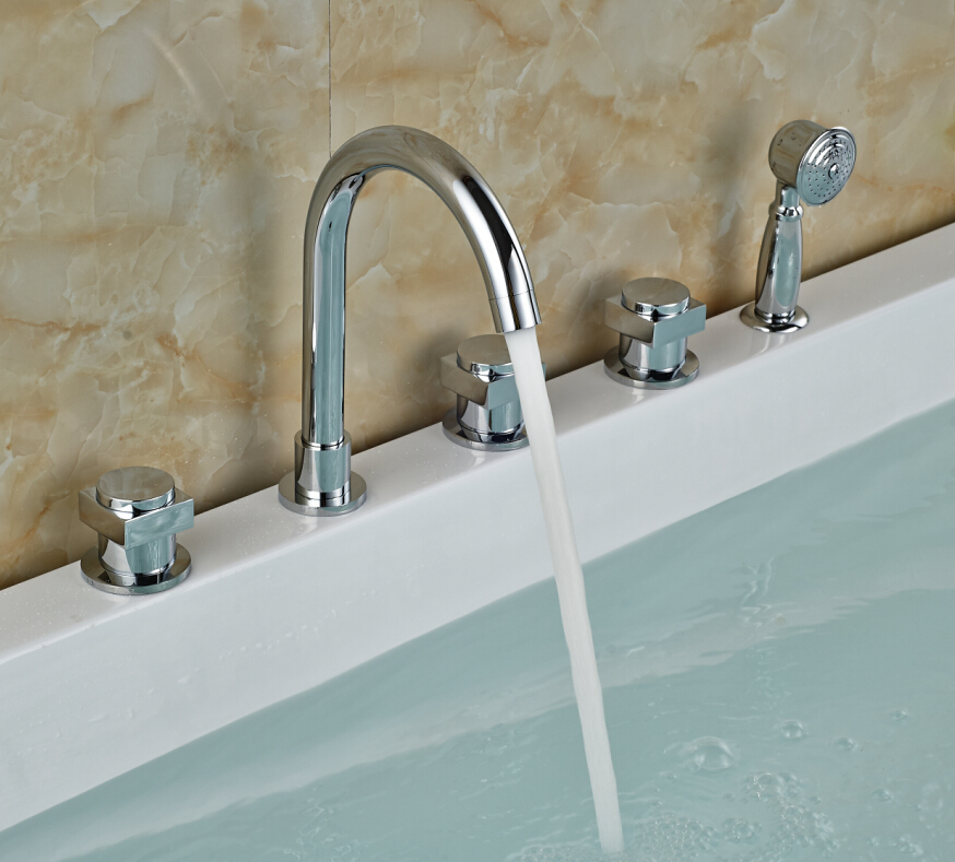 Widespread Chrome Brass Bathroom Tub Faucet 5 Holes Sink Mixer Tap W ...