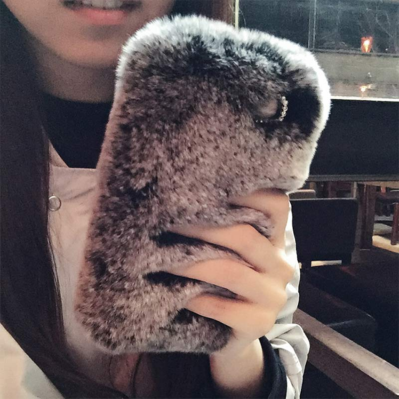 Luxury Cute Real Rex Rabbit Fur Phone Case For Iphone 7 6 6S Plus 5C 5S SE 4 Samsung Galaxy Note 7 5 4 3 2 S7 S6 Edge S5 S4 S3
