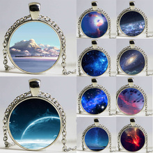 19 Select vintage silver glass moon sky long necklaces & pendants 2017 fashion outer space universe Galaxy necklace jewelry HZ1