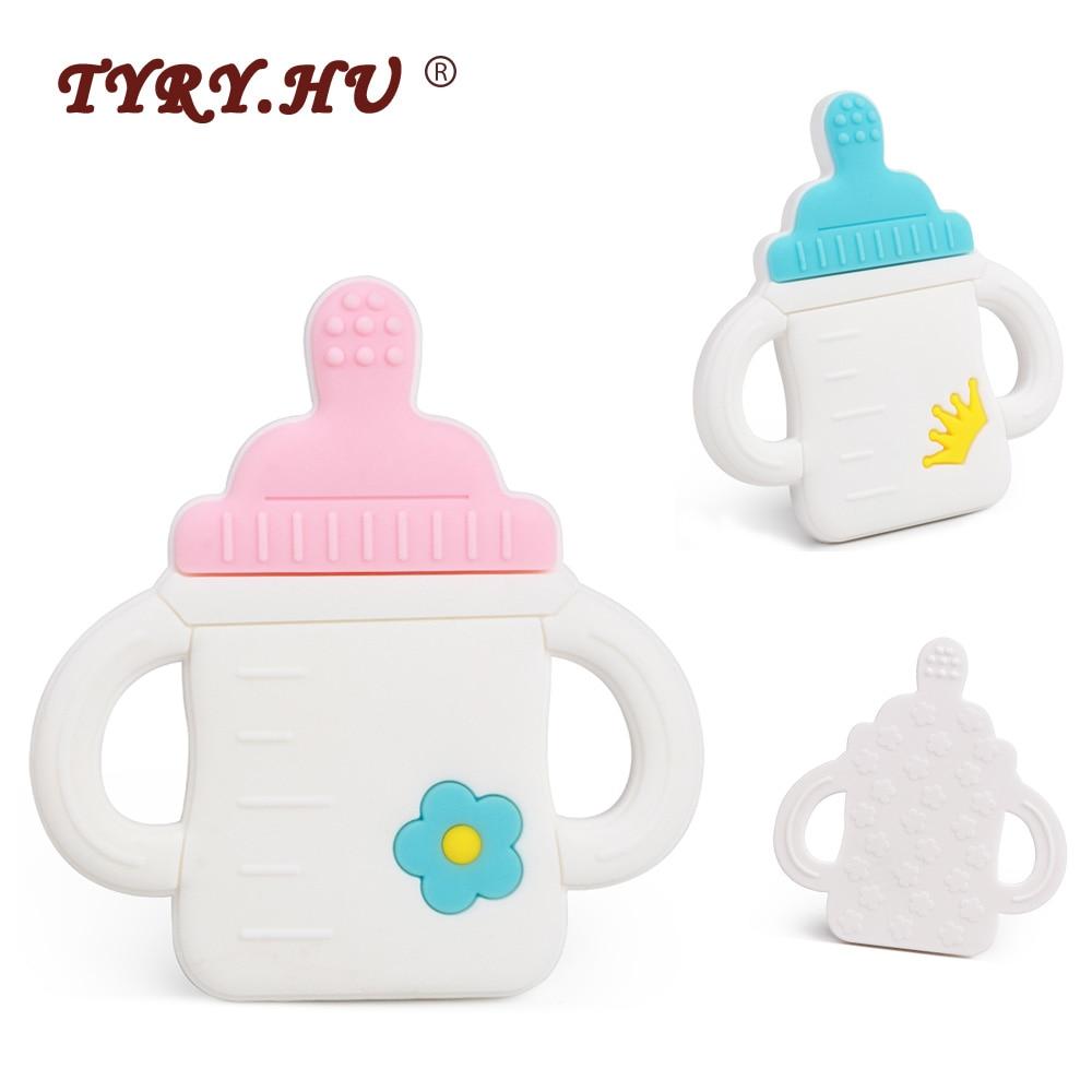 TYRY.HU 1Pcs Cartoon Milk Bottle Baby Teethers Food Grade Baby Silicone Teething Toys BPA Free DIY Necklace Nurse Gift BPA Free