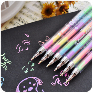 Rainbow Color Gel Pens 6 Colors In 1 Gel Highlighter Pens Fluorescent Markers for DIY Writing Painting Student School Stationery image