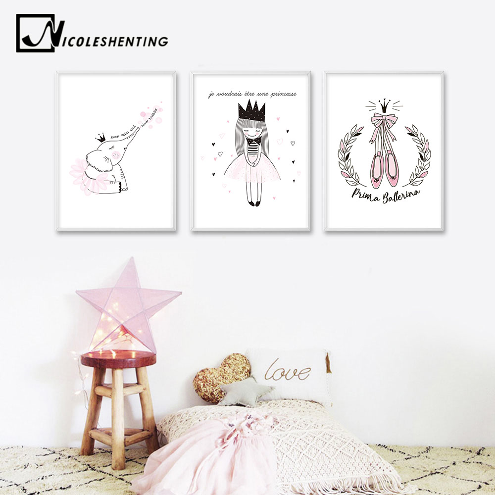 NICOLESHENTING Kawaii Cartoon Animal Girl Elephant Unicorn Canvas Poster Nursery Wall Art Print Picture Baby Living Room Decor