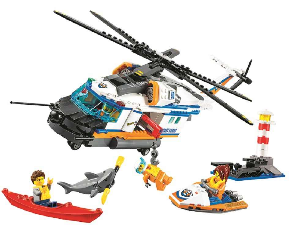 City Urban Coast Guard Heavy-Duty Rescue Helicopter building blocks DIY Educational bricks 60166 Compatible with Lego Best Gift