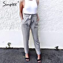 Simplee Apparel OL chiffon high waist harem pants Women stringyselvedge summer style casual pants female 2016 New black trousers