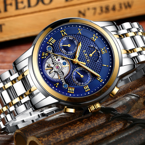 LIGE Top Brand Luxury Mens Watches Automatic Mechanical Watch Men Full Steel Business Waterproof Sport Watches Relogio Masculino Islamabad