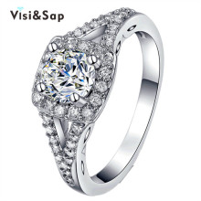 Vissap Wholesale White Gold plated finger ring fashion Jewelry AAA zircon Wedding Rings For Women party Gift high quality VSR171 стоимость