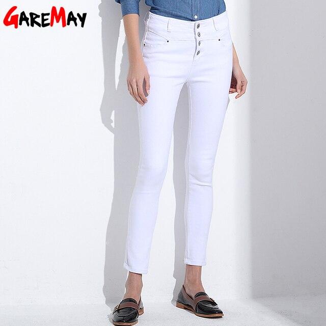 0ccdffb87190e Jeans pour femmes 2018 coréen femme femininas blanc denim taille haute  crayon skinny pantalon Jeans femme