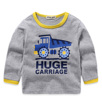 Fashion Cartoon Kids Boys Long Sleeve Cotton Casual Printing T Shirts Tops Clothes Children O Neck