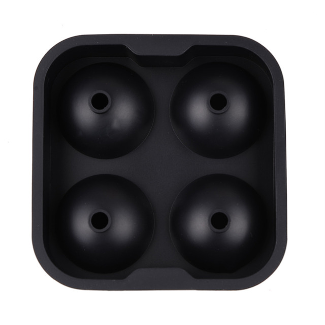 New Design 4Hole IcCube Ball Drinking Wine Tray Brick Round Maker Mold Sphere Mould party  Silicone Ice Hockey Maker