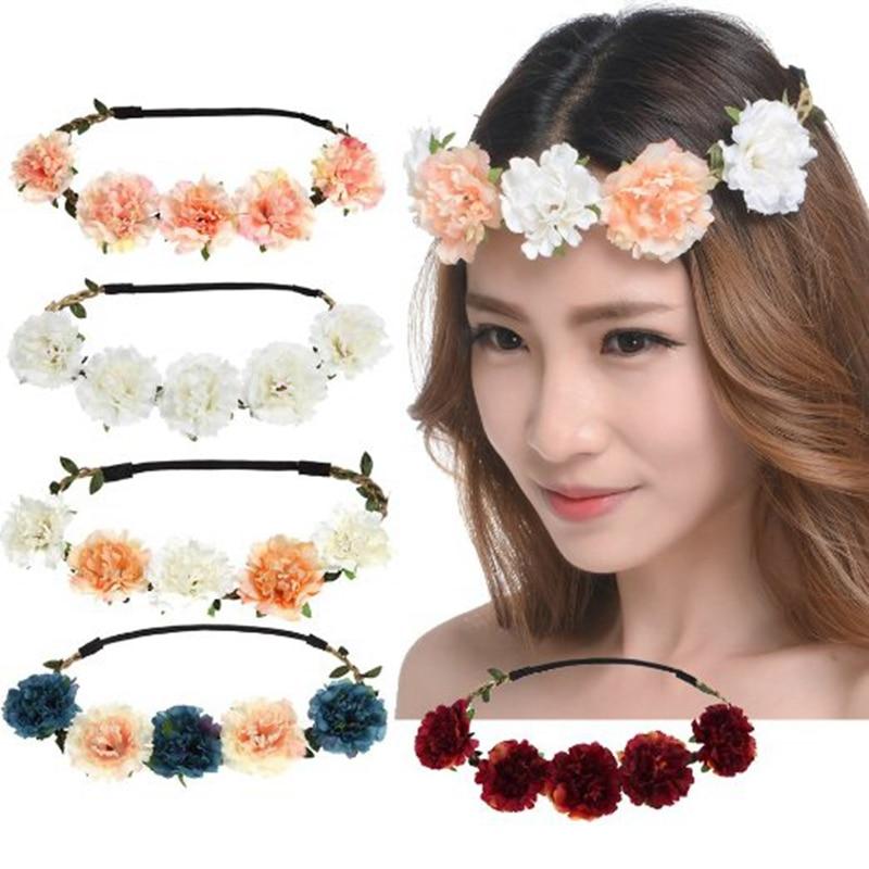Fashion Women Bride Flower Headband Bohemian Style Floral Crown Hairband  Ladies Elastic Beach Hair Band Leaf Hair Accessories-in Women s Hair  Accessories ... 5160be4e26b