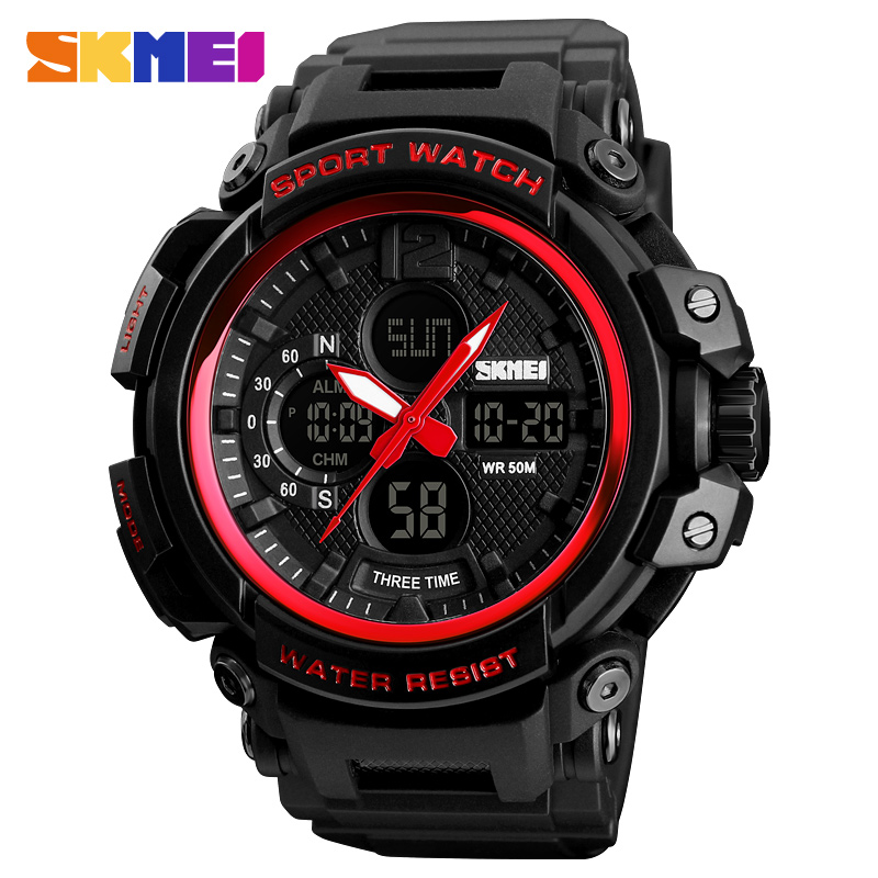 <font><b>SKMEI</b></font> Sport Men Watch 3Time Waterproof Digital Watches Men Fashion Quartz Wristwatches Erkek Saat Clock Relogio Masculino <font><b>1343</b></font> image
