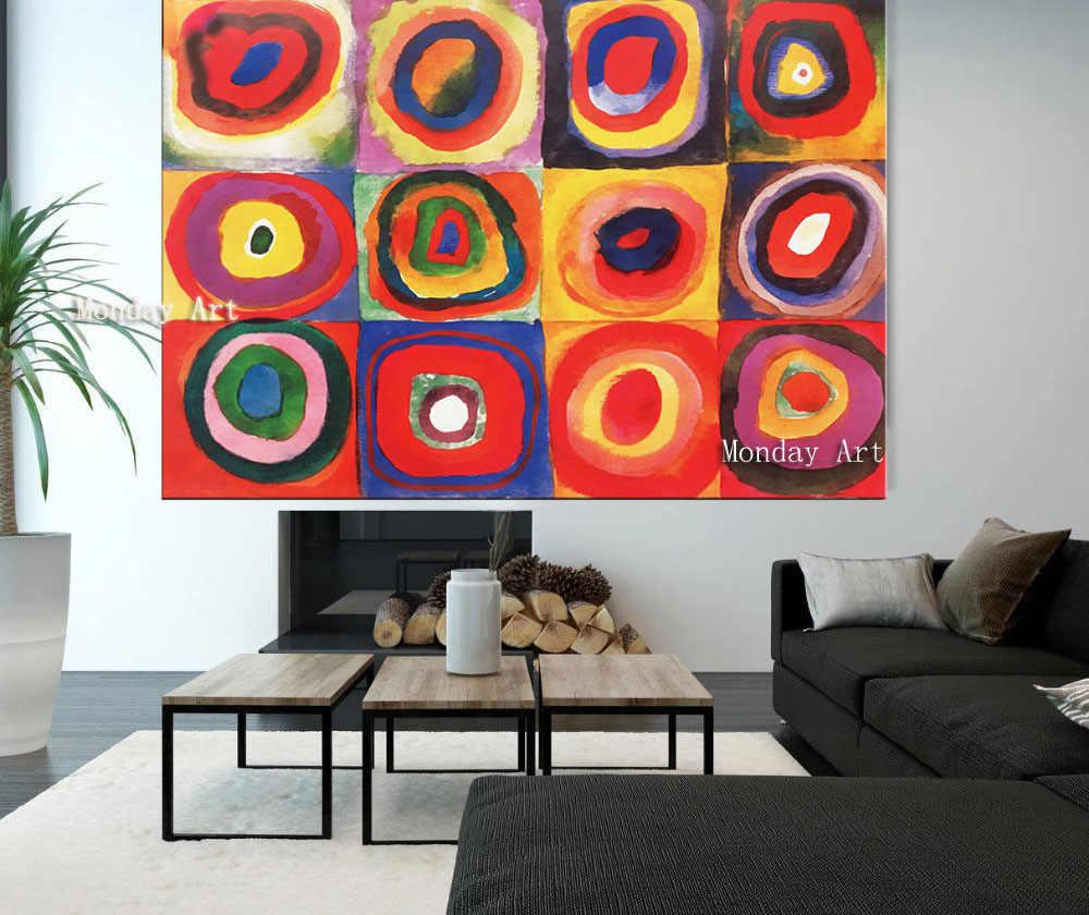 Abstrak Lukisan Buatan Tangan Wassily Kandinsky Geometris Lukisan Minyak Abstrak Lukisan untuk Ruang Tamu Kamar Tidur Rumah Hotel Dekorasi