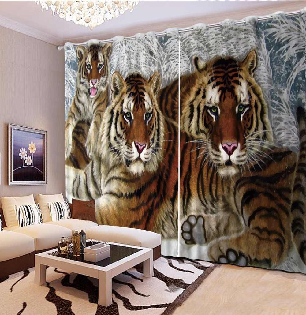The Animal Tiger Children Curtains European and american style Sheer Curtains Lifelike 3D Curtains For Room