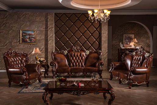 Lizz European Style Royal Living Room Furniture Top Genuine Leather Brown Sofa Y1518