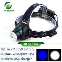 IR Sensor Induction led Headlamp Blue White light HEAD LIGHT USB Rechargeable headlight Fishing Flashlight Head Torch 18650