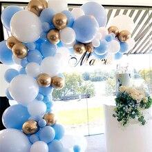 1set 36inch Macaron White Blue Latex Balloons 12inch Chrome Gold Balloon Garland 5M Chain Free Wedding Birthday Party Decoration