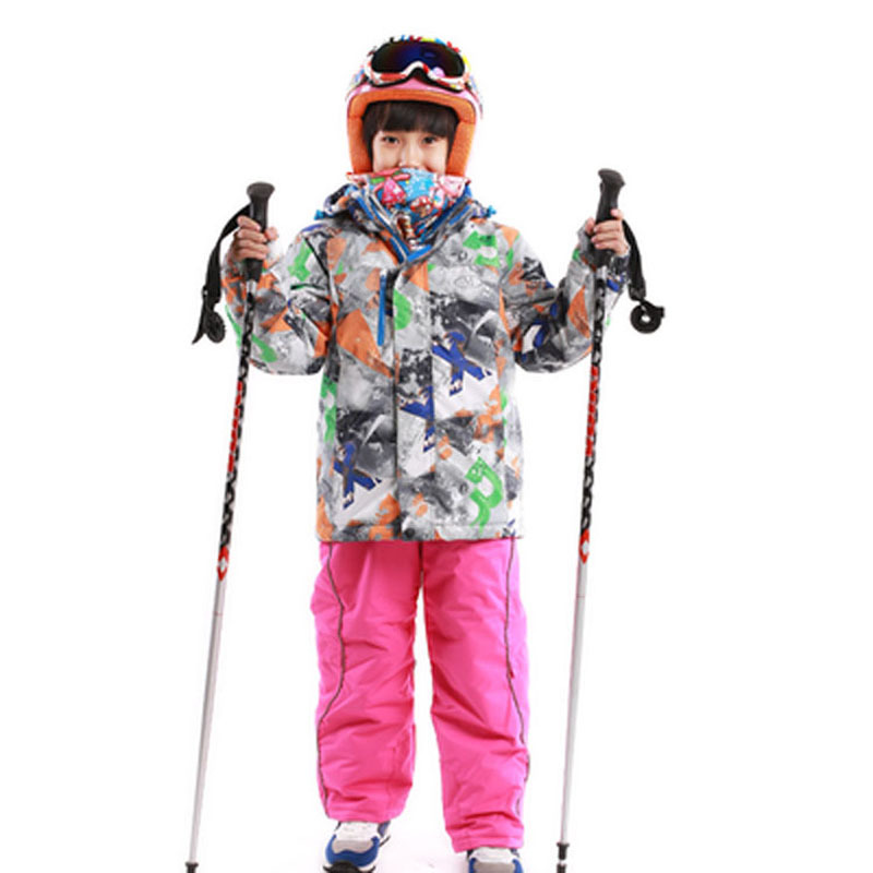 Dropshipping 2016 New free shipping kids set windproof waterproof skiing jacket and pant snow -20-30 DEGREE ski suit for girls