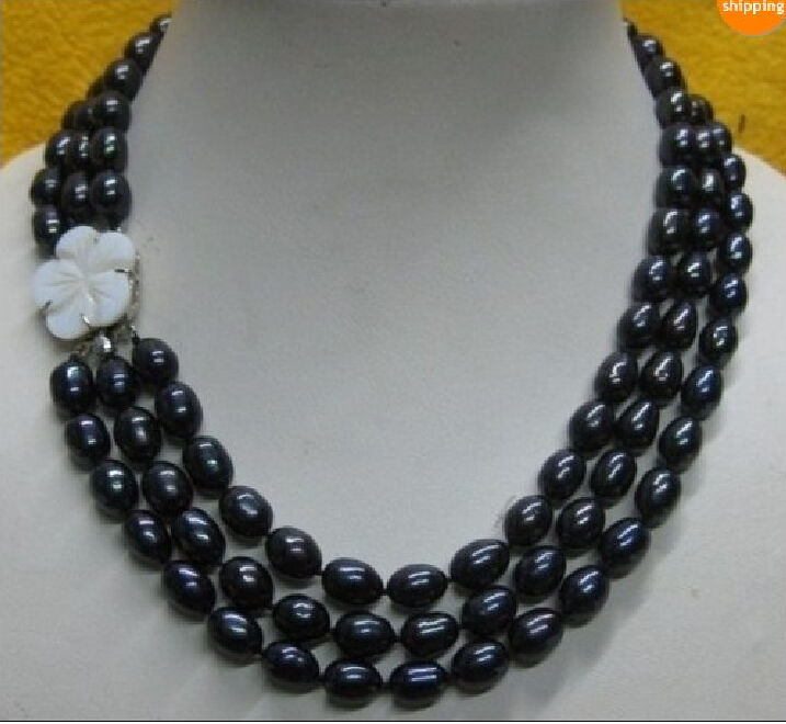 FREE SHIPPING HOT sell new Style >>>>Excellent 3 rows AAAA 10-12 south sea Black Pearl Necklace 18-20 hot sale new style aaaa 7mm genuine akoya pink sea water pearl necklace 14kgp j5534