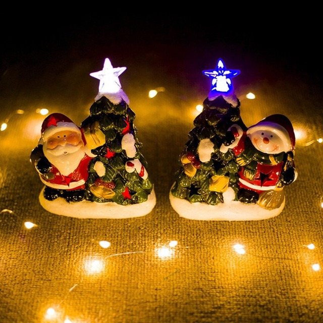 Christmas ceramic Santa Snowman Craft with lights Christmas luminous ...