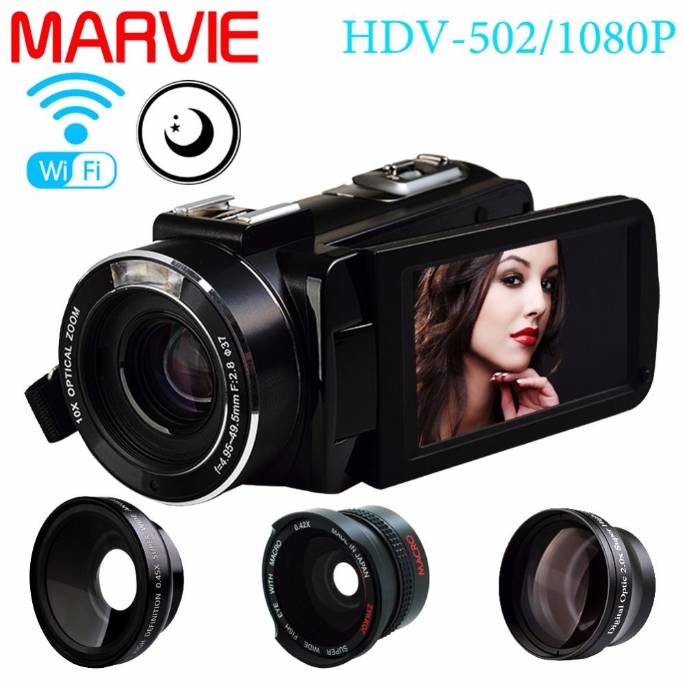 Marvie Mini Portabel WIFI Camcorder FHD 1080p@30 FPS Max 24.0 MP 16X Digital Zoom External Microphone Video Recorder DV 1