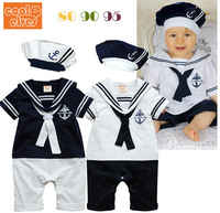 2016 New Fashion Summer Newborn Navy Style Baby Romper Suit Kids Boys Girls Rompers Hat Body