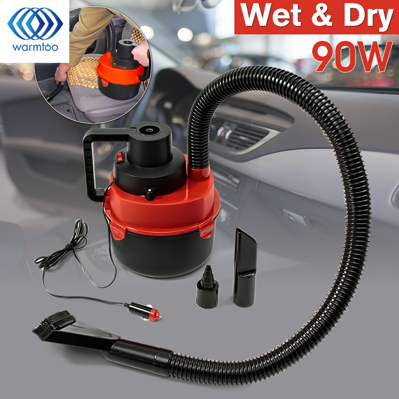 90W DC 12V Portable Wet Dry Canister Outdoor <font><b>Carpet</b></font> Car Boat Mini Vacuum Cleaner Air Inflating Pump Red