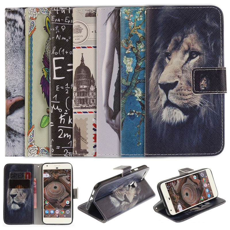 Luxury Painting Stand Flip Leather Cover Case For Google Pixel XL Wallet Style Cell Phone Cases With Card Holde For Google Pixel