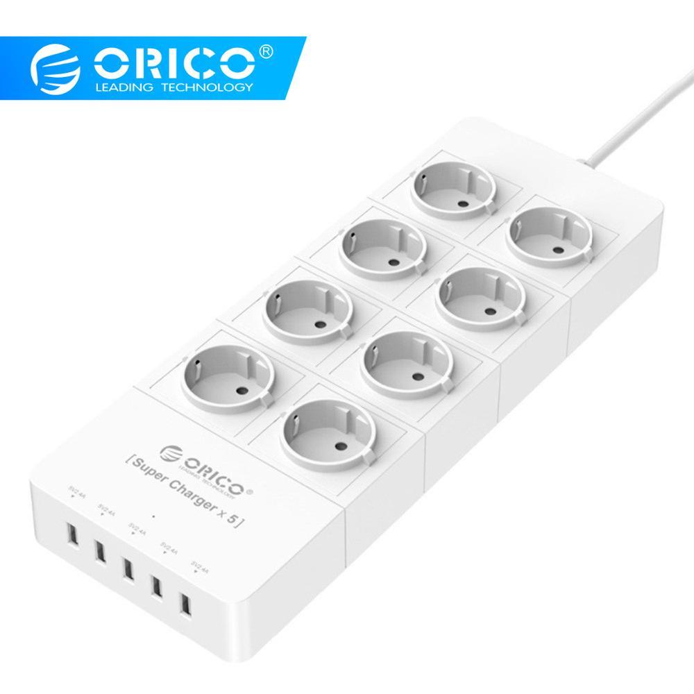 ORICO HPC-8A5U UE EUA REINO UNIDO Ficha Tomada Protetor Contra Surtos de Energia Stirp com 5 8x5V2. 4A Portas USB Super Charger Branco Preto