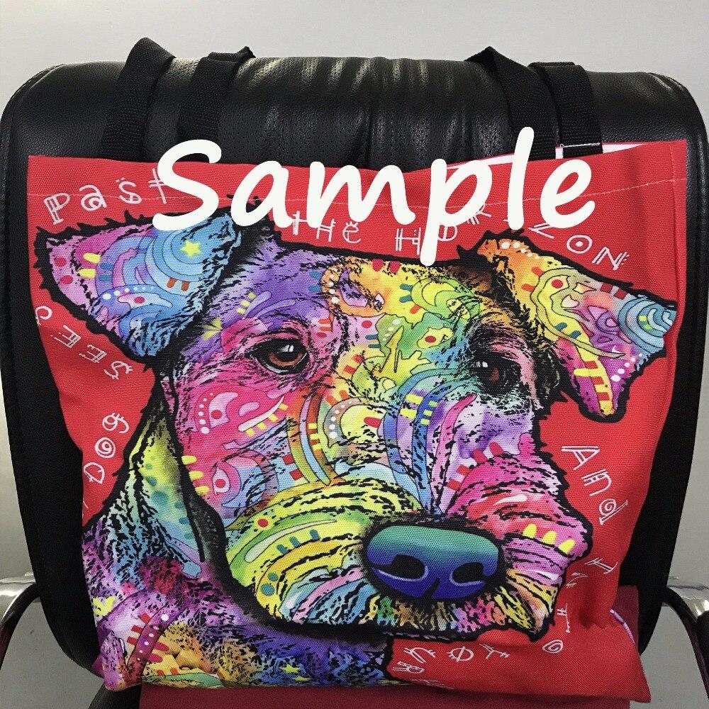 Weißer Segeltuch-Einkaufstaschen-buntes Hundeporträt druckte nette - Handtaschen - Foto 4
