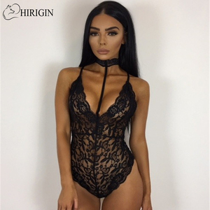 Sexy Halter Lace Choker Bodysuit Women Deep V Neck Sexy Lingerie Solid Nightwear Underwear Babydoll Sleepwear Teddies(China)