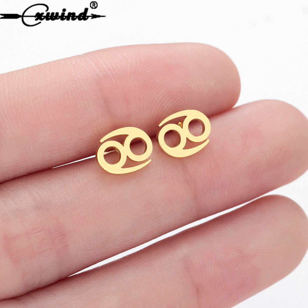 Cxwind New Korean Girl Astrology Cancer Zodiac Earring Geometry Infiinity Stud Earrings for Women Fashion Cute Birthday Jewelry