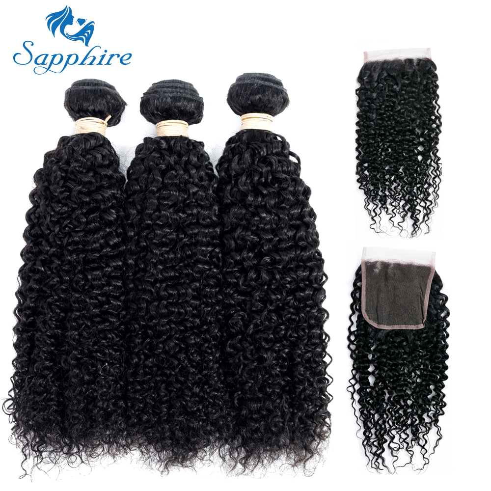 Sapphire Kinky Curly Remy Human Hair 3 Bundles With Closure 1B Color Salon Hair High Ratio