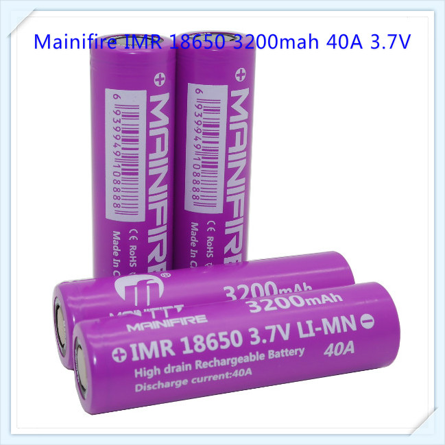 <font><b>4</b></font> <font><b>pcs</b></font> Top selling Mainifire <font><b>battery</b></font> <font><b>18650</b></font> imr high drain <font><b>battery</b></font> lithium <font><b>battery</b></font> 3.7V 3200mAh image