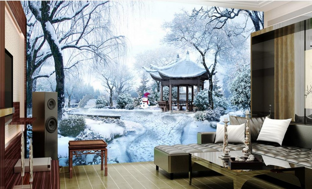 customize 3d wallpaper home decor living room 3 d Ice and Snow Park 3D landscape background wall murals wallpaper for walls