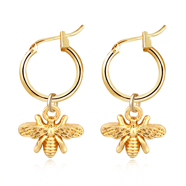 European Stereoscopic Trend  Cute Bee Hoop Earrings With Pendant Gold Silver Color Lovely Fashion Jewelry