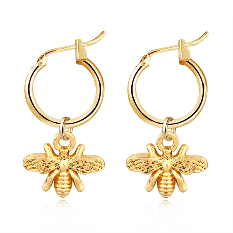 1Pair European Stereoscopic Trend  Cute Bee Hoop Earrings With Pendant Gold Silver Color Lovely Fashion Earrings Jewelry E542-T2