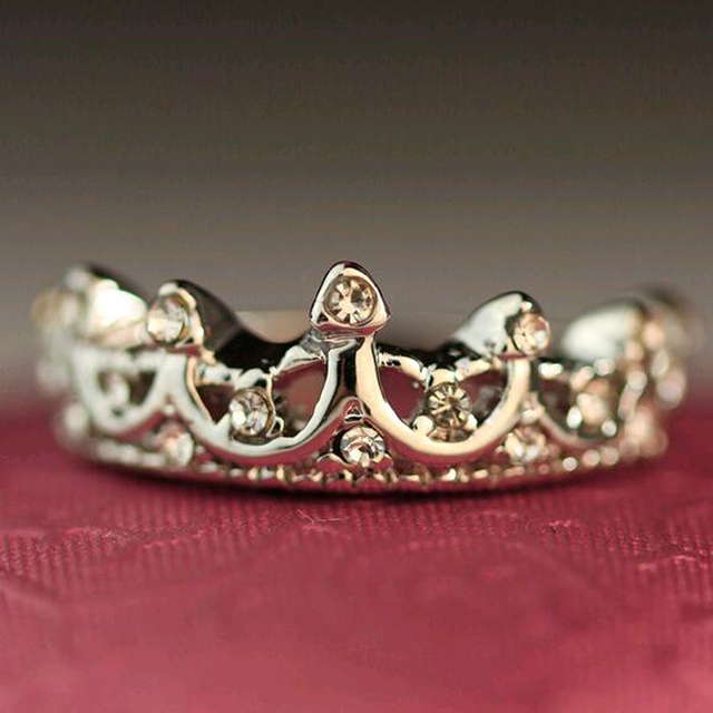 Korean Style Retro Crystal Drill Hollow Crown Shaped Queen Temperament Rings For Women Party Wedding Ring Jewelry Free Shipping 3