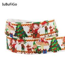[IuBuFiGo] новая лента для рождественской елки с принтом Grosgrain DIY ручной работы 22 мм ленты для украшения X-1728