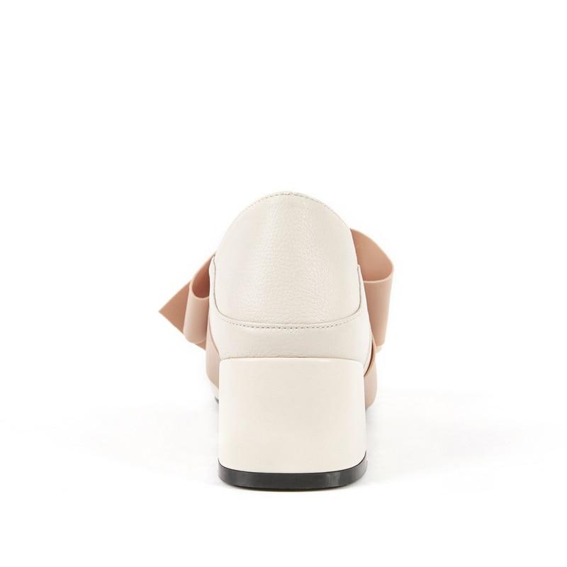 Talons Sabot Carré Chaussures En Papillon Nœud Pompes Nouveau Printemps Qualité À L'extérieur Doux Beige Cuir Bout Véritable Zvq apricot 2019 Haute Med Femmes RTxwfTqH