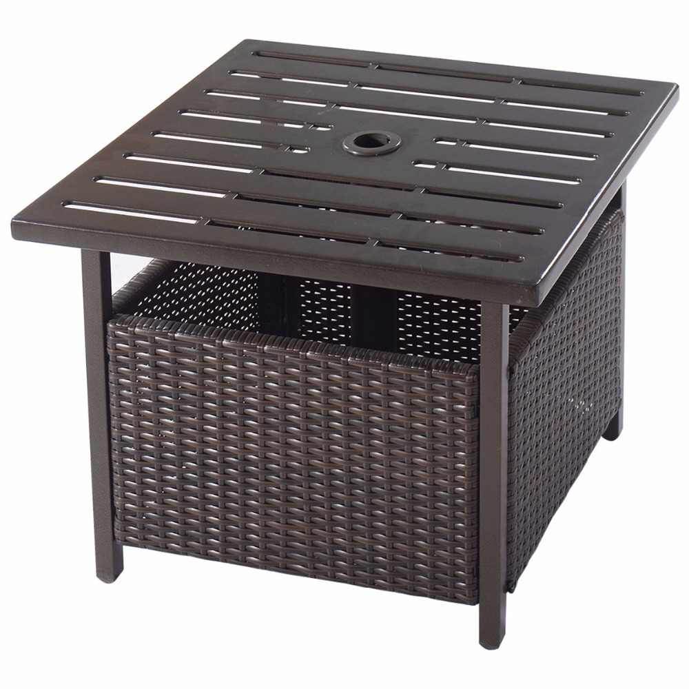 Brown Rattan Wicker Steel Side Table Outdoor Furniture Deck Garden Patio  Pool HW52881 In Console Tables From Furniture On Aliexpress.com   Alibaba  Group