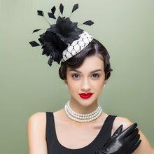 Señora nueva ala del lino sombrero mujeres moda sombrero banquete hecho a  mano pluma vestido de novia desgaste femenino partido . 7efa4fef571e