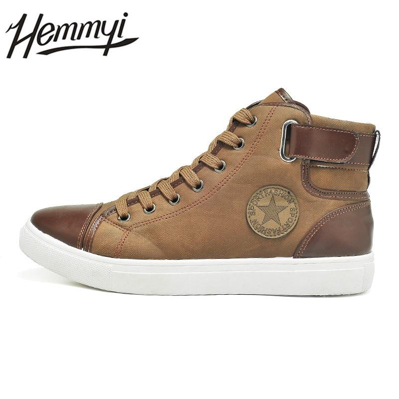 Hemmyi 2017 Autumn New Fashion Men Shoes High Help Lace up Men s font b Boots