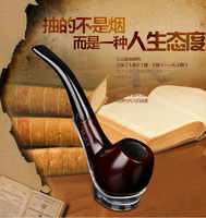 20167Complete Set Ebony Pipe Filter Pipe Briar Pipe Handmade Solid Wood Curved Bucket Pipe Tobacco Smoking