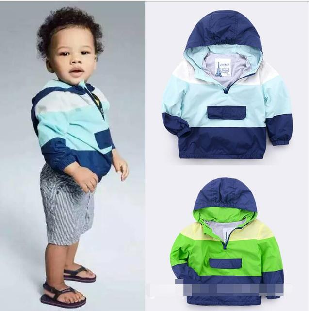 New Baby Pullover coat Boys Color matching hooded jacket wholesale