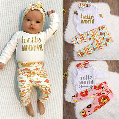 Newborn Baby Girl Top Romper+Floral Pants Leggings 3pcs Outfit Set Clothes 0-18M 3pcs set newborn infant baby boy girl clothes 2017 summer short sleeve leopard floral romper bodysuit headband shoes outfits