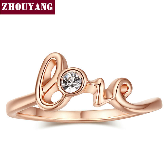 Top Quality ZYR194 Concise Crystal Ring Rose Gold Color Austrian Crystals Full S