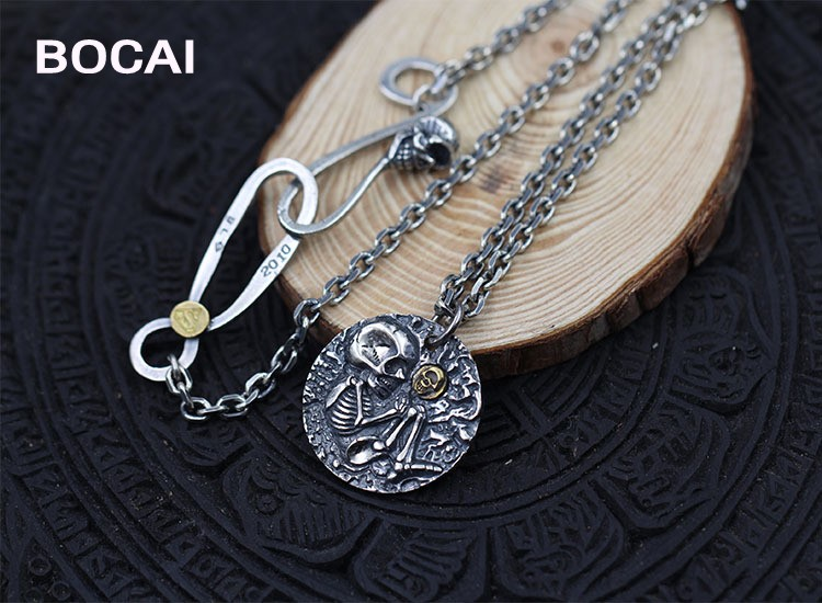 Personalized locomotive style skull listed sterling silver 925 jewelry Thai silver retro do old pendants silver head piston wrench skeleton personality pendants thai silver retro locomotive style pendants