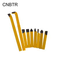 9pcs Yellow Iron Lathe Turnning Tool With YW1 Alloy Tool Bit 8x8mm Shank