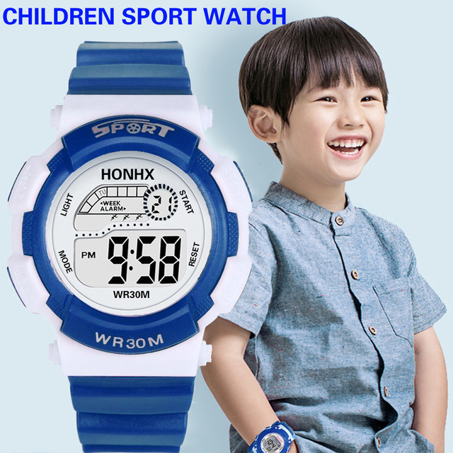 Hot Children Watch Boys Life Waterproof Digital LED Sports Watch Kids Date Watch